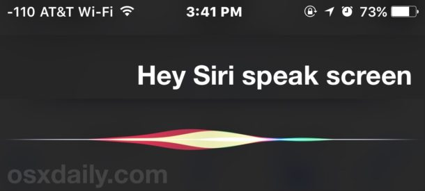 Siri Speak Screen on iPhone and iPad