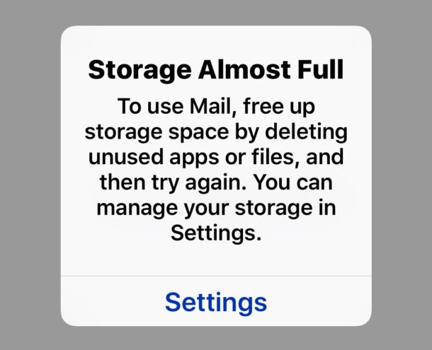 Cant open Mail in iOS because storage almost full