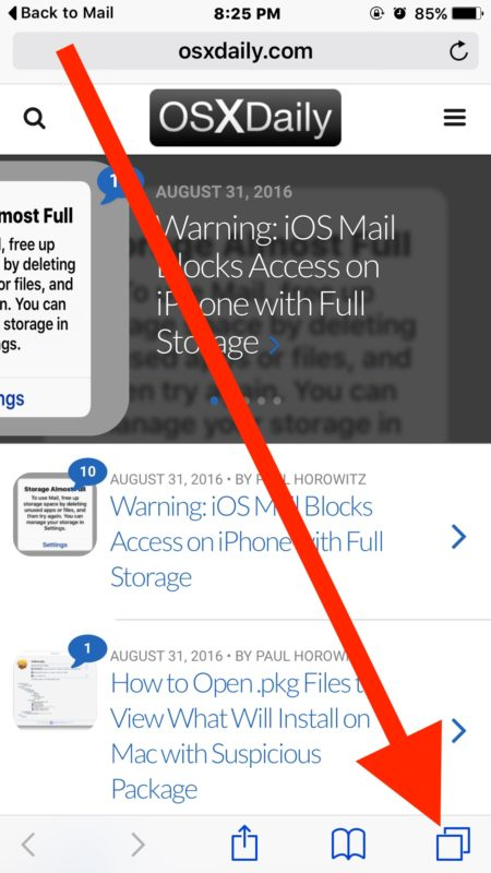 Reopen a closed tab in Safari for iPhone