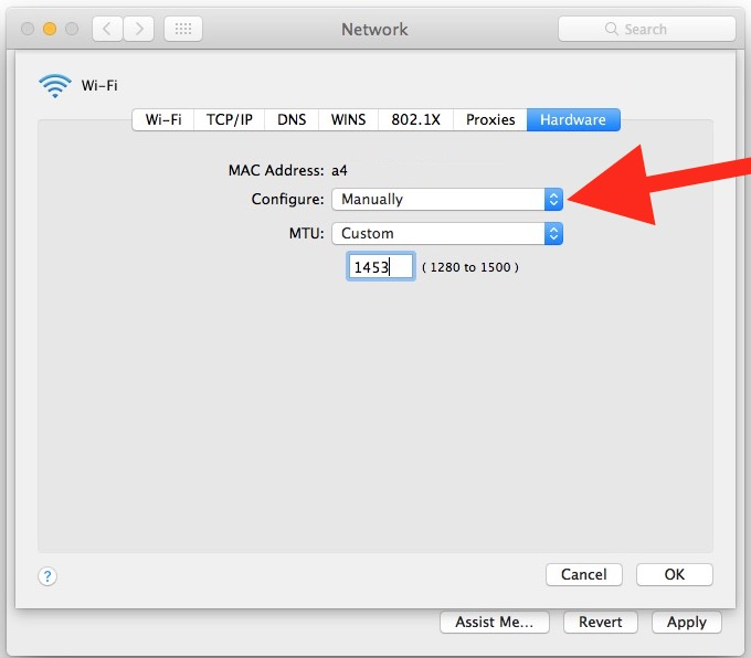 The custom MTU setting in network preferences