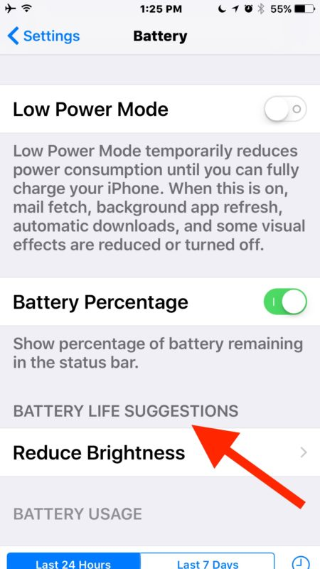 Battery life suggestions in iOS 10
