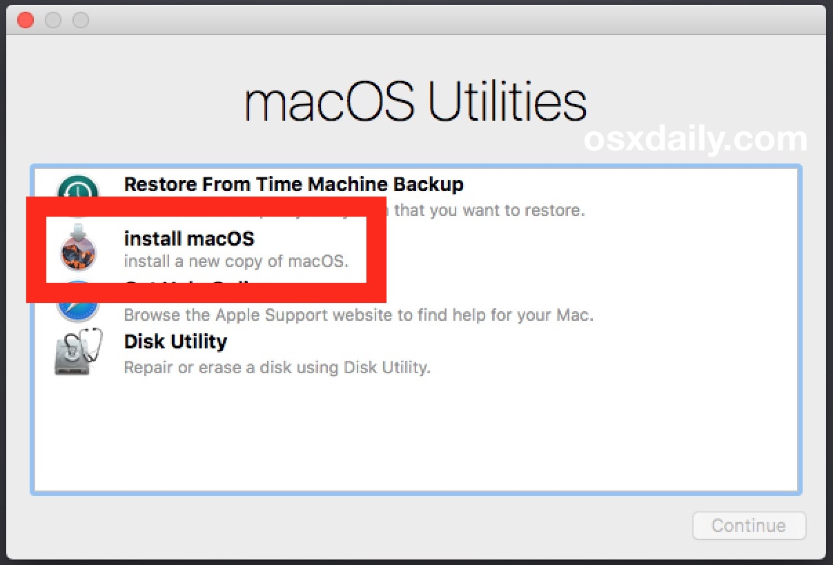 Choose to clean install macOS Sierra