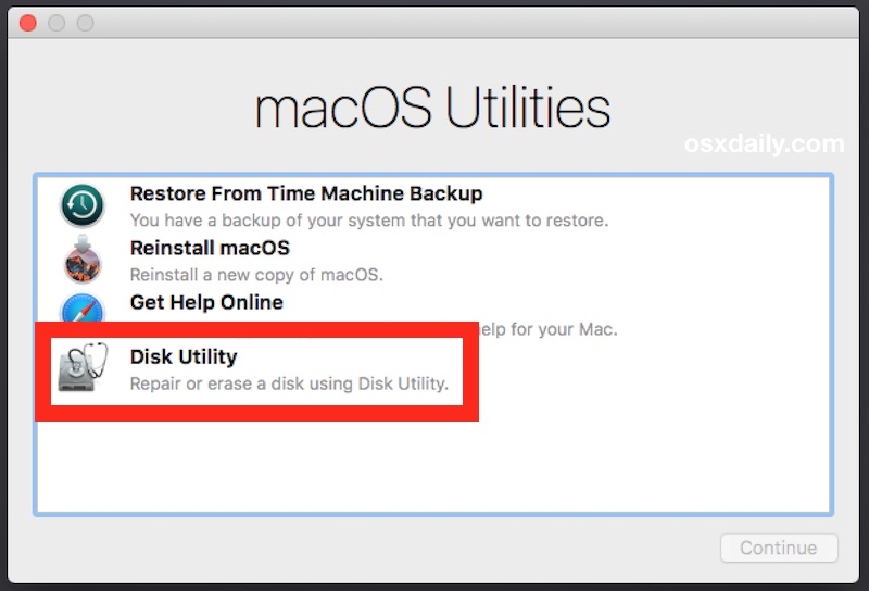 Choose Disk Utility to erase the Mac