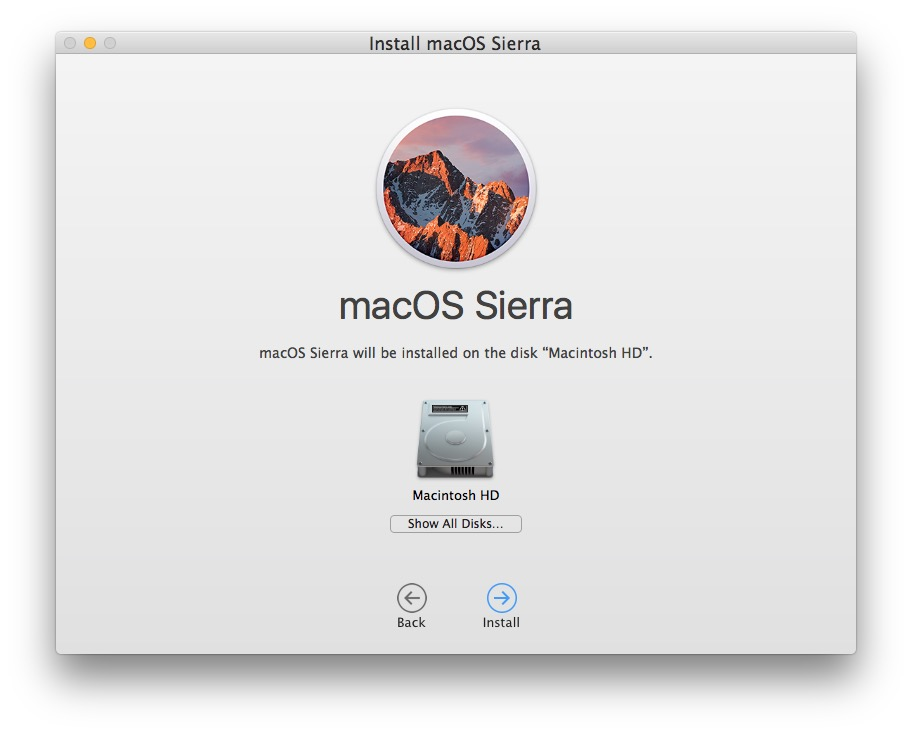 Choose Macintosh HD as the target disk to clean install macOS Sierra onto