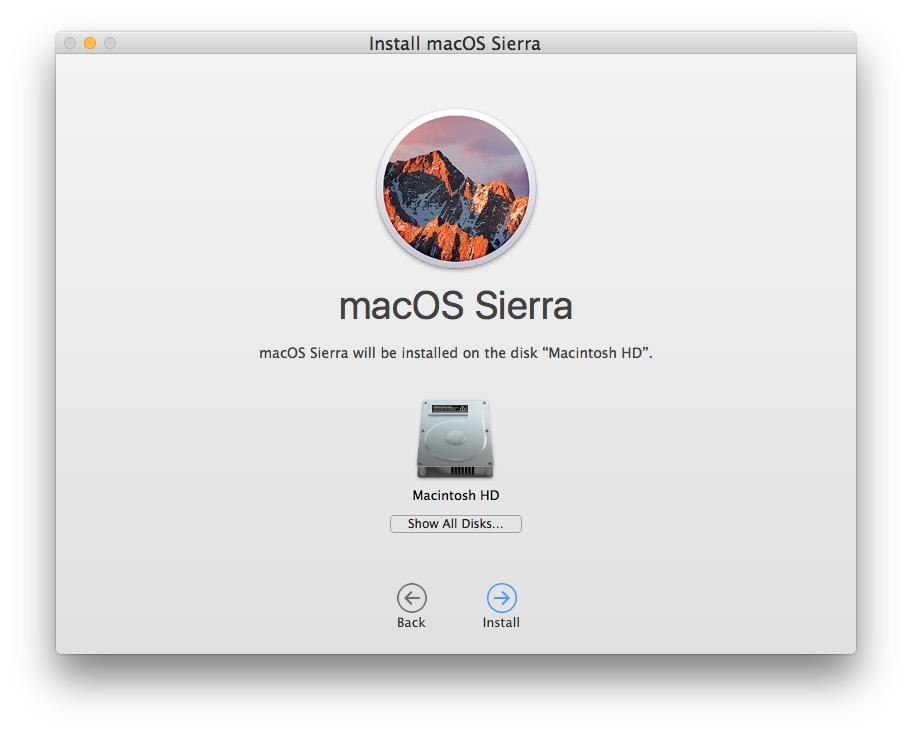 Choose Macintosh HD as the target disk to clean install macOS Sierra onto