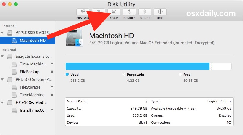 Erase the Mac hard drive to clean install