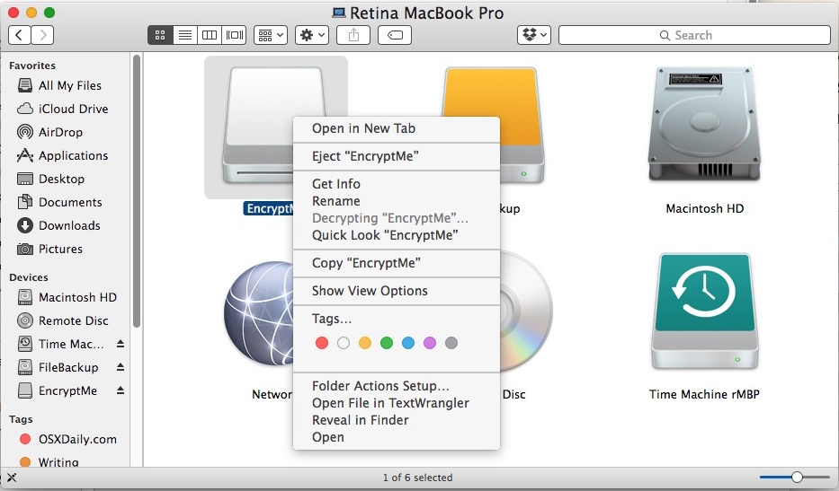 Decrypting a USB drive on a Mac