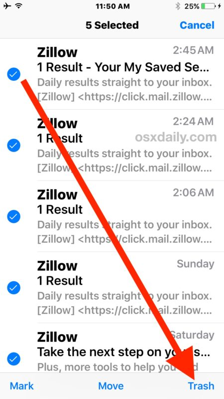 Select emails and then choose Trash