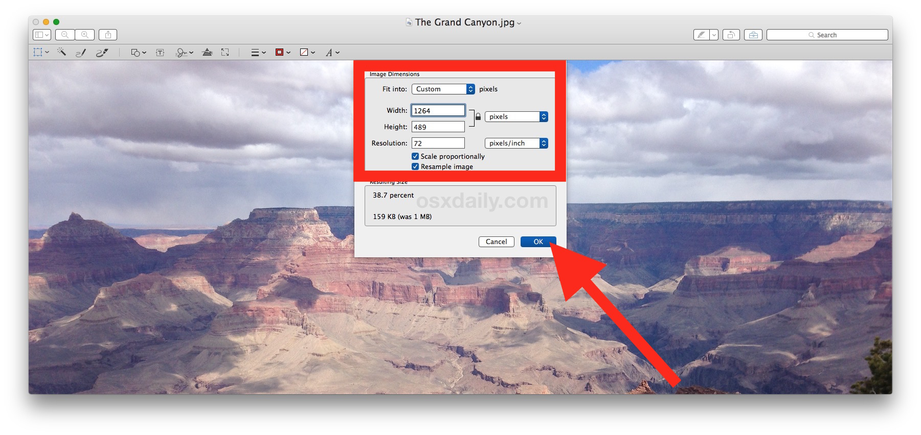 Adjust the image dimensions to resize the photo in Mac Preview