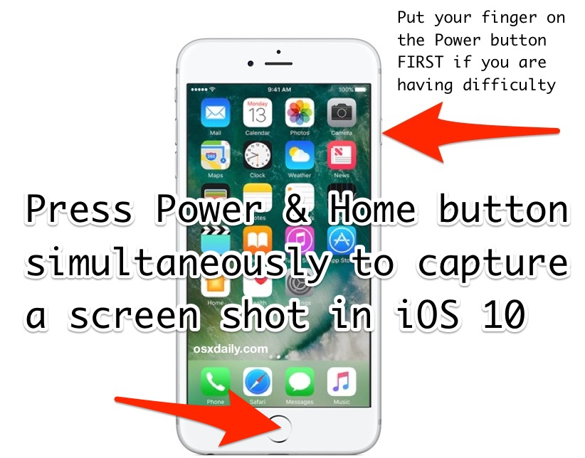 How to screenshot iOS 10