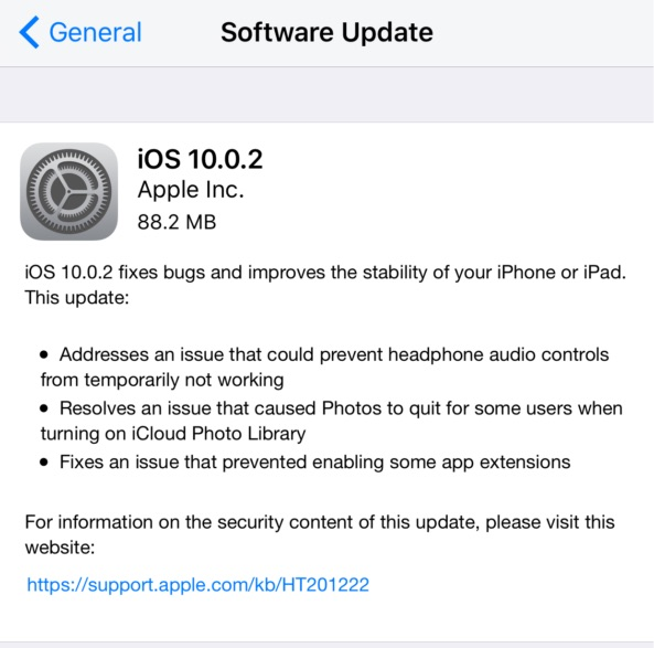 iOS 10.0.2 software update