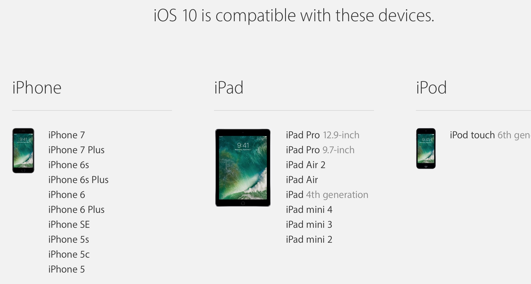 The official iOS 10 supported device list
