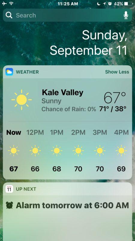 The widget lock screen of iOS 10