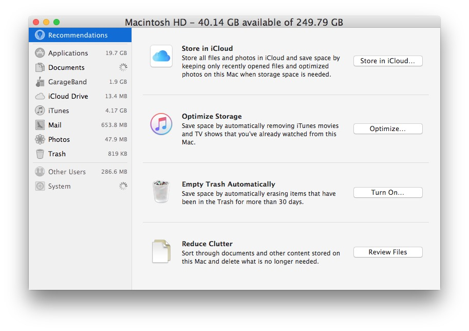 macOS Storage Optimization settings