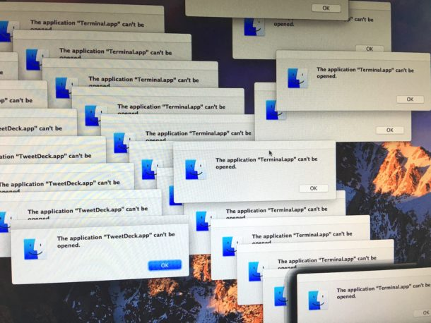 macOS Sierra app launch failure meltdown