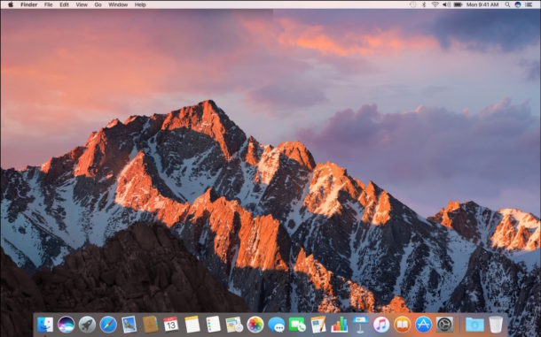 A clean install of macOS Sierra has nothing on it