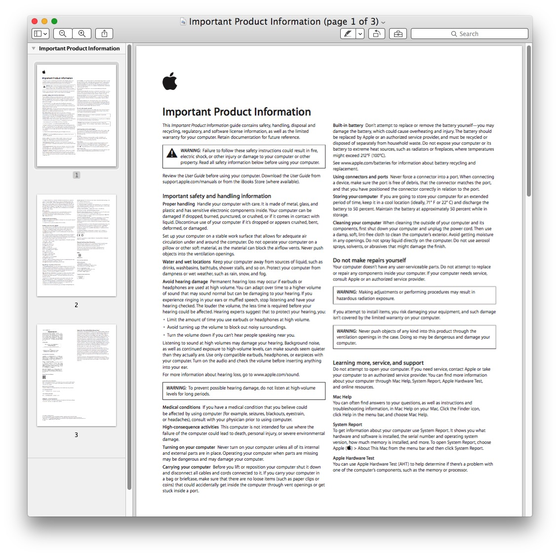 A PDF file opened in Preview on Mac ready to search