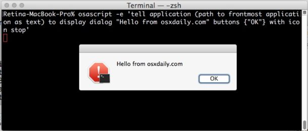 Trigger an alert dialog from command line on Mac