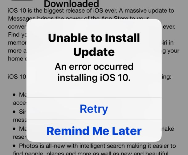Unable to Install iOS 10 Error