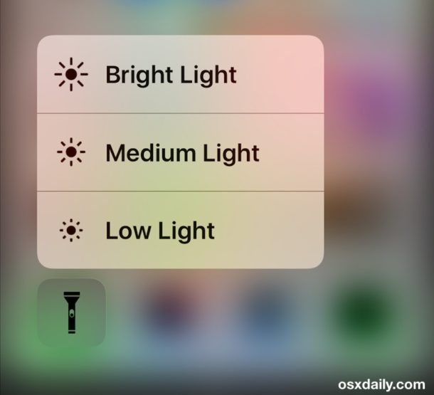 Adjust iPhone flashlight brightness