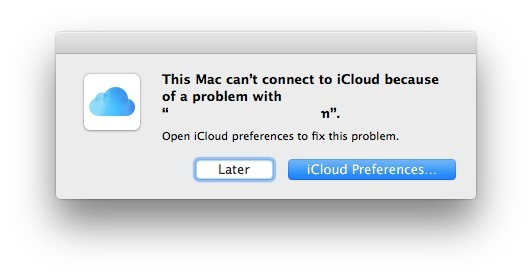 Cant connect to iCloud because of a problem
