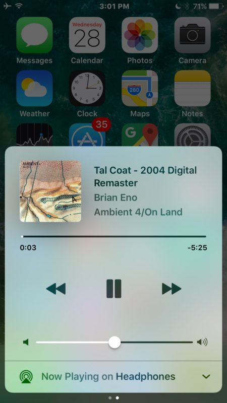 Find Music in Control Center for iOS 10