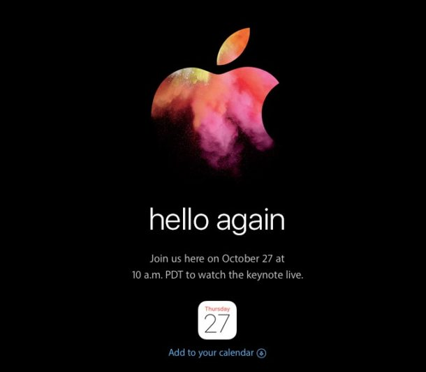hello again Apple event on October 27