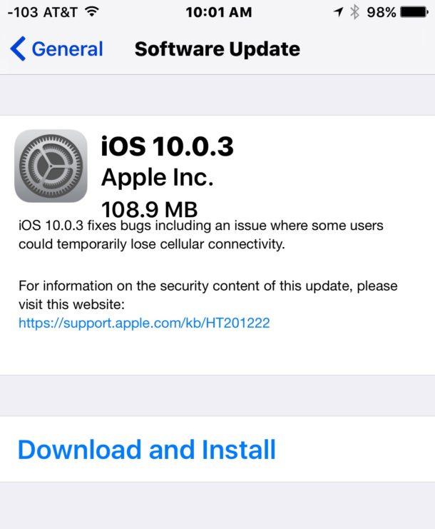 iOS 10.0.3 update