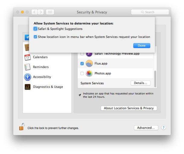 System search suggestion Location settings in Mac OS X