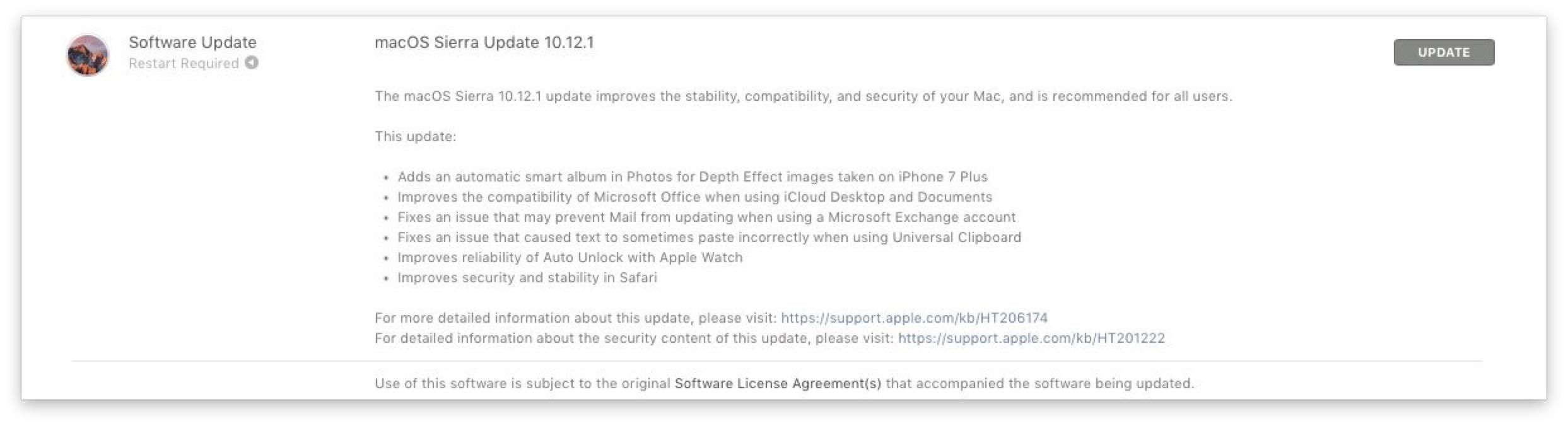 macOS Sierra Update 10.12.1
