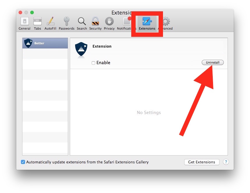 Uninstall Safari extensions on Mac