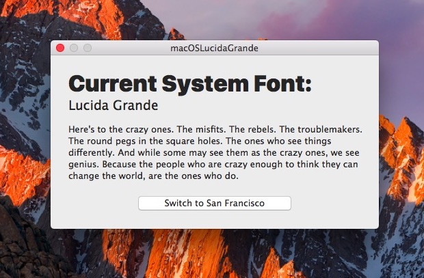 Changing the system font in macOS Sierra to Lucida Grande