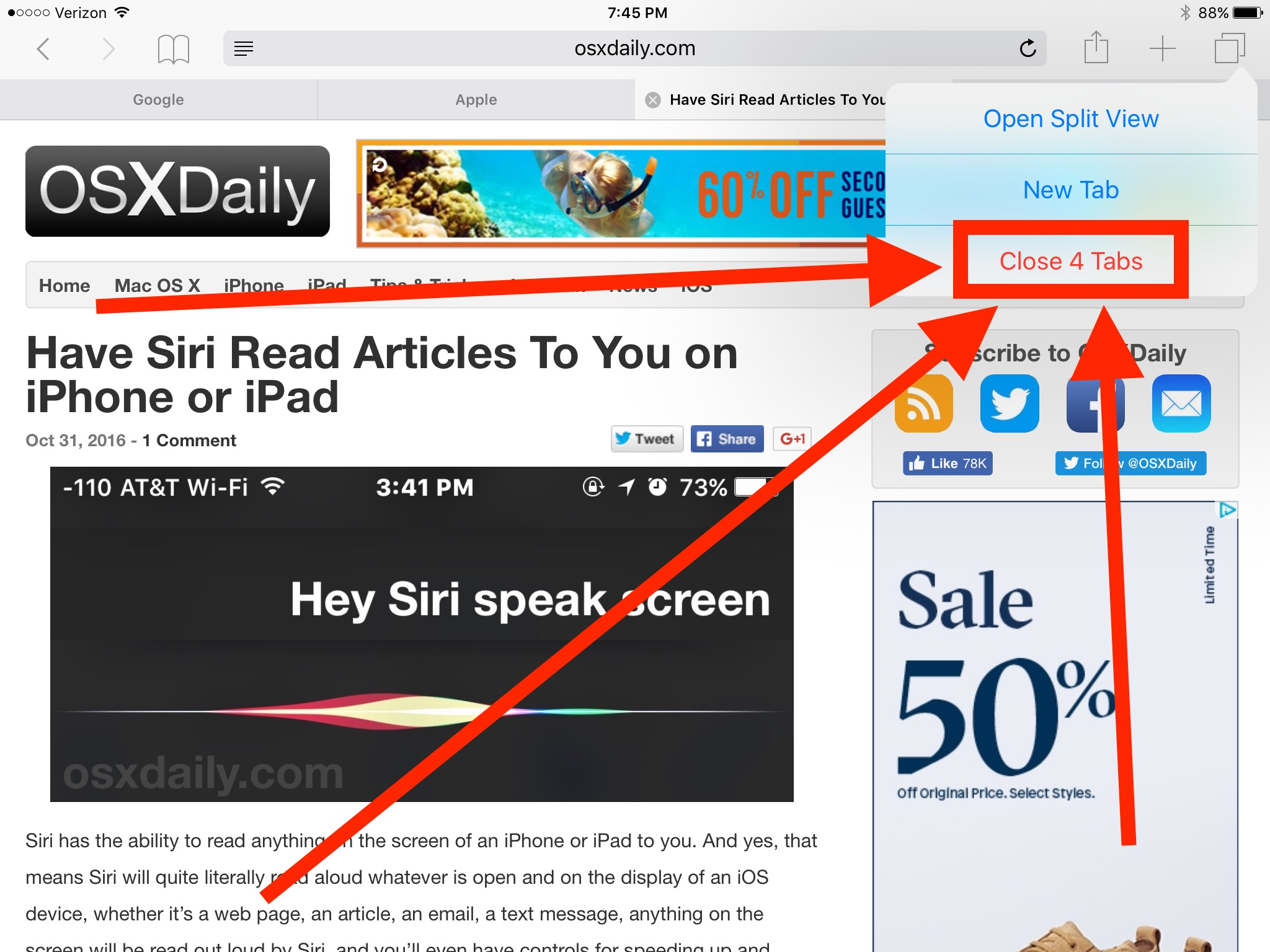 How to close all tabs in Safari for iOS