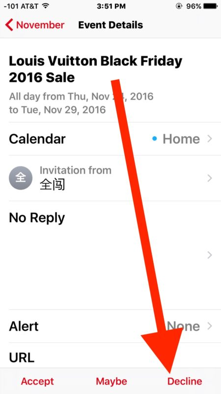 Declining the Calendar spam invites
