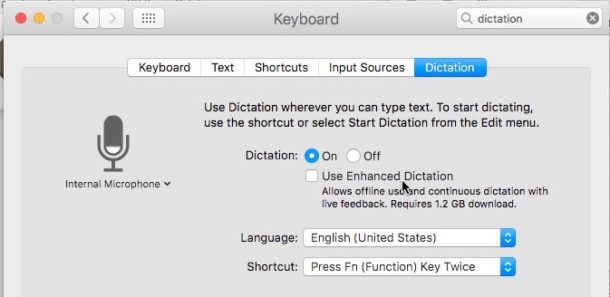 Disabling Enhanced Dictation on Mac