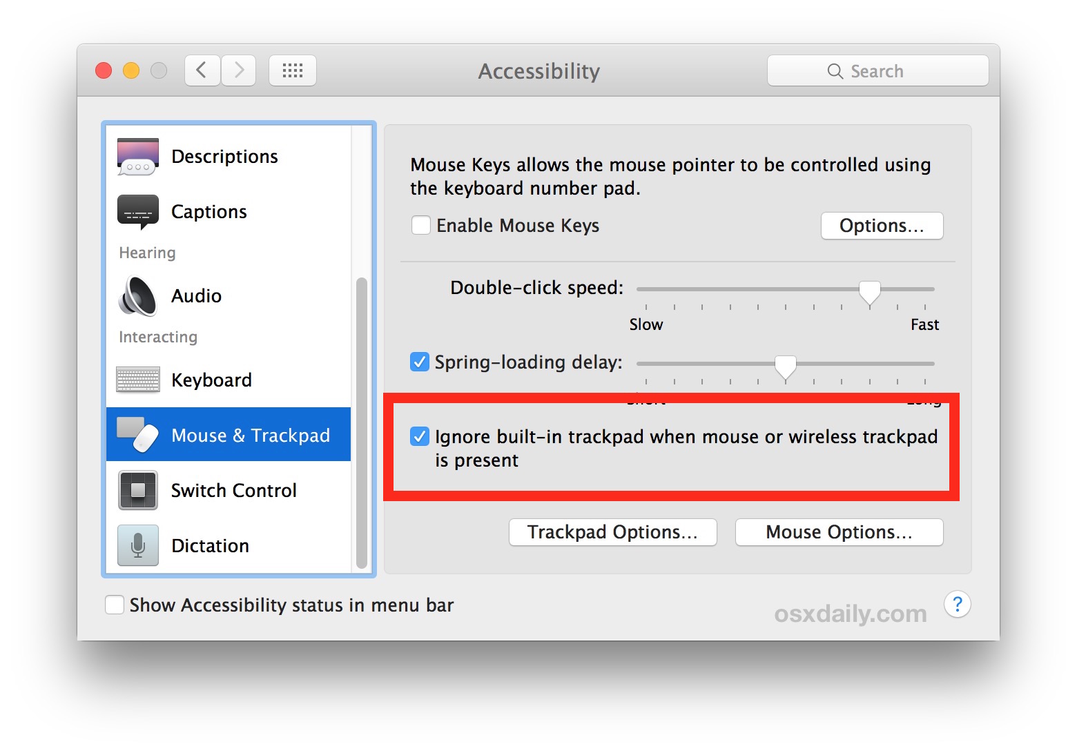 Disable trackpad when external mouse or trackpad connected to Mac