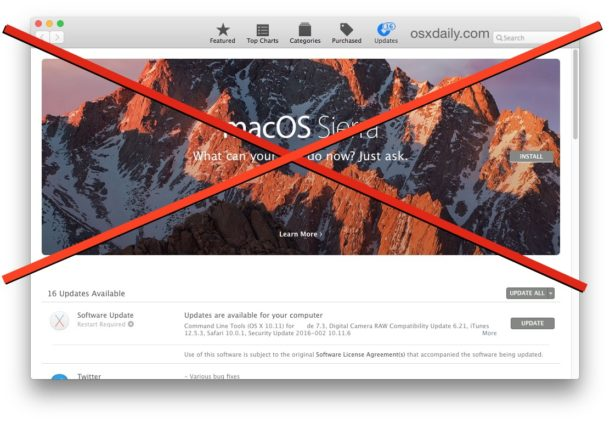 How To Hide Macos Sierra Update Banner From The Mac App Store Osxdaily