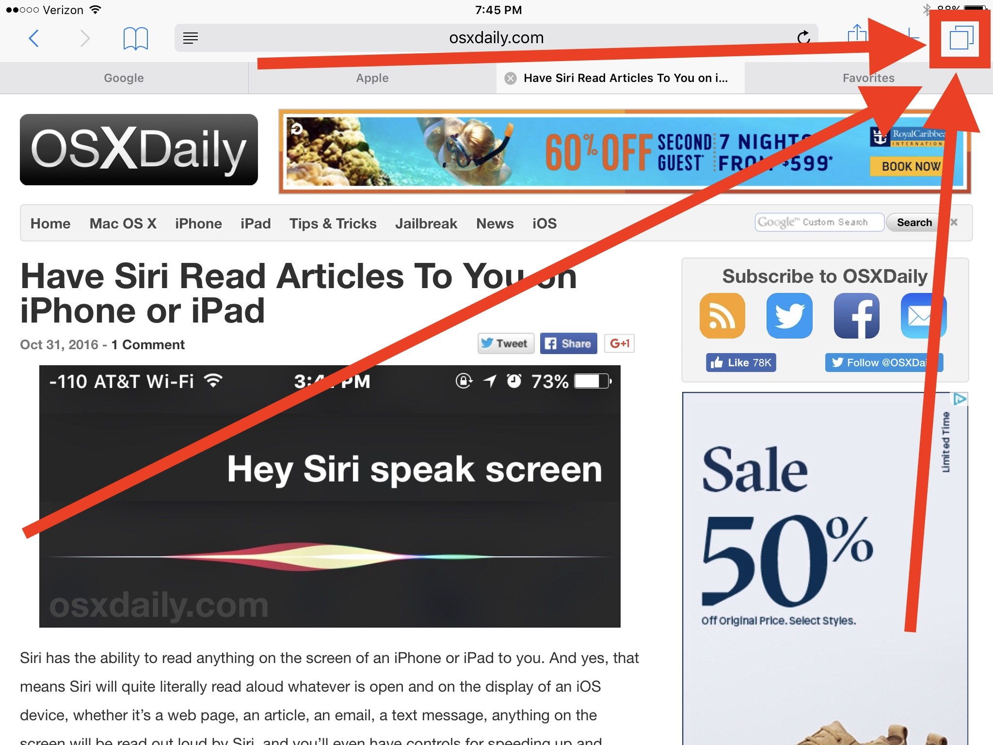 How to close all browser tabs in Safari for iOS