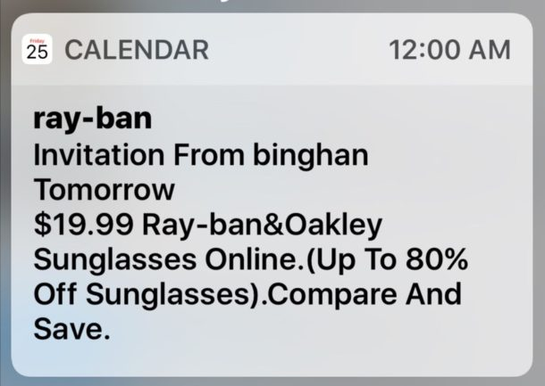iCloud Calendar invite spam