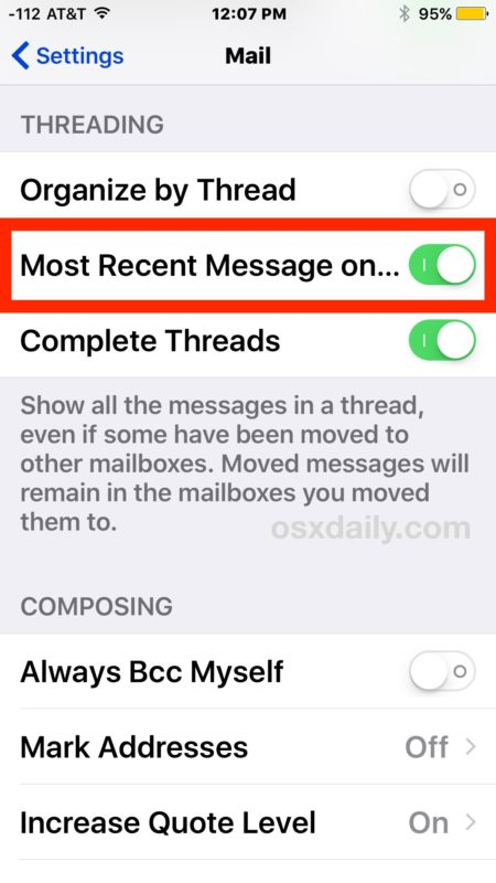 iOS Mail threading show recent messages on top