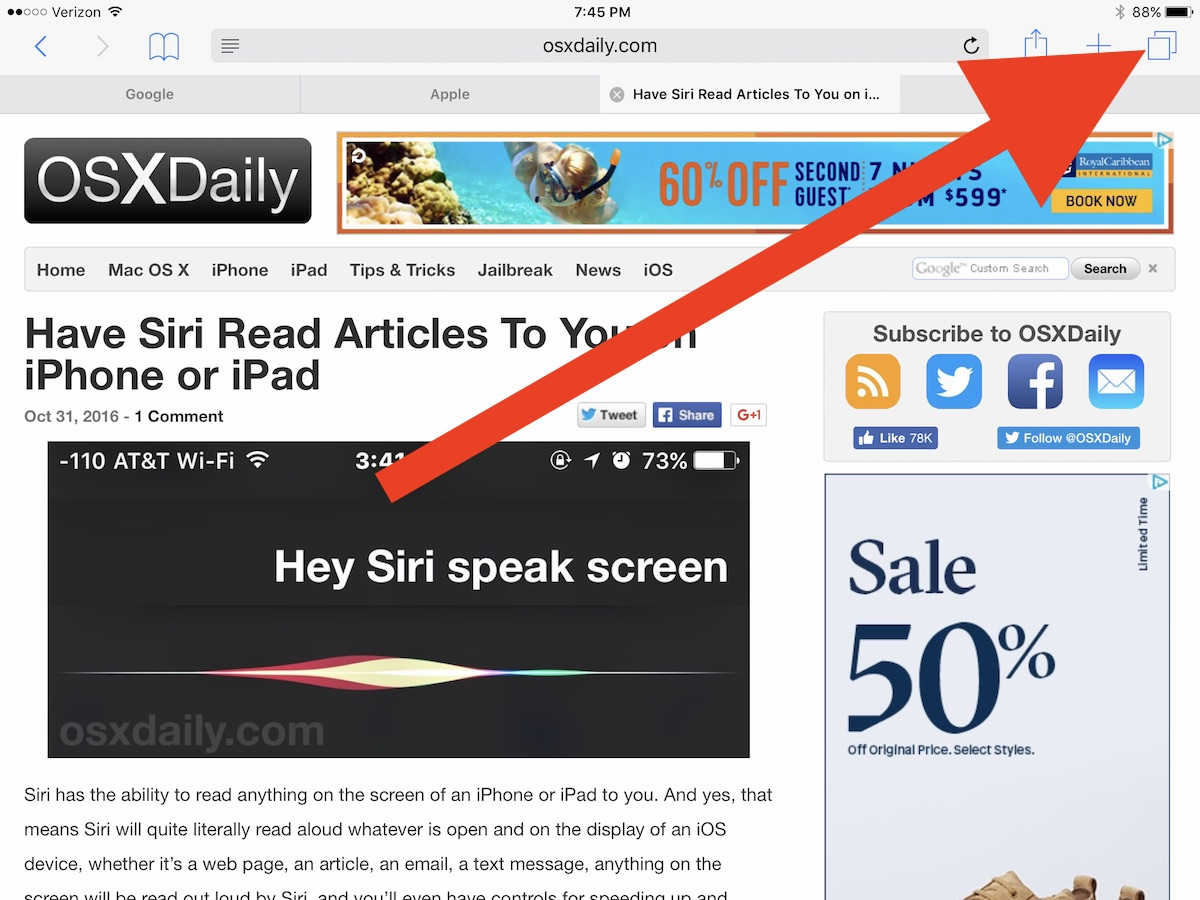 iPad open safari Split View