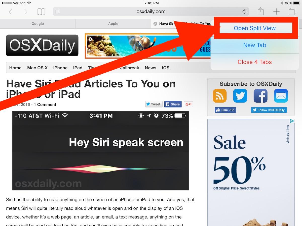 Open iPad Split View in Safari