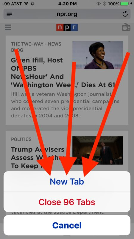 Open a new tab in Safari for iOS quickly