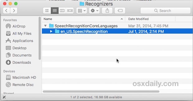 Removing the enhanced dictation language pack from Mac