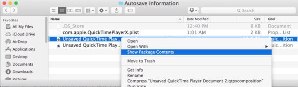 Show package contents to find the lost QuickTime file