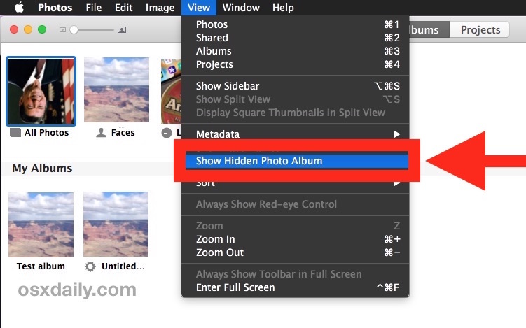 Show the hidden Photos album in Photos for Mac