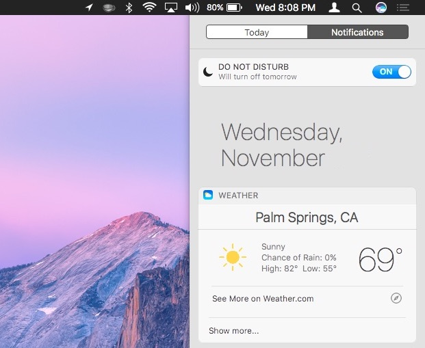 Siri result widget in Notification Center on Mac