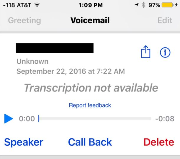 Voicemail transcription not available