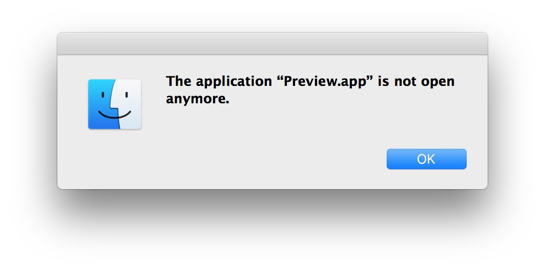 Application name is not open anymore Mac error message