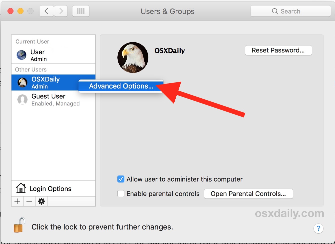 Choose Advanced Options to change user home directory on Mac